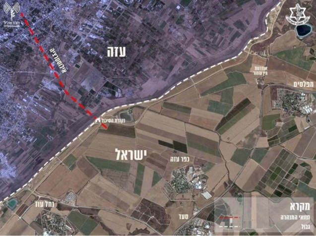 The route of the tunnel (IDF spokesman's website, April 15, 2018).