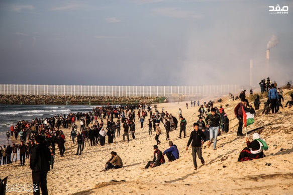 Demonstrators and rioters on the shore during the 23rd mini-flotilla (Supreme National Authority Facebook page, February 12, 2019).