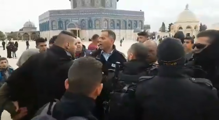 Palestinians clash with the Israeli security forces on the Temple Mount (Ma'an, February 18, 2019).