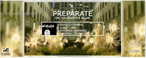 "Poster in Spanish calling on the ""Soldiers of Allah"" to ""get ready,"" with Christmas celebrations in the background (ISIS's Muntasir Foundation, December 24, 2018)"