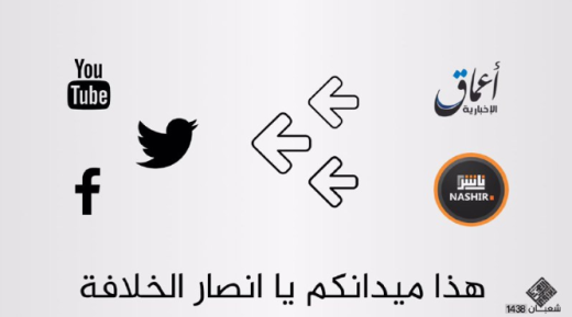 "Coordination between Amaq and the Nasher agency for the dissemination of ISIS content on social media (Twitter, YouTube, Facebook). The poster reads, ""This is your battleground, O supporters of the Caliphate"" (www, manshar.com, April 3, 2017)"