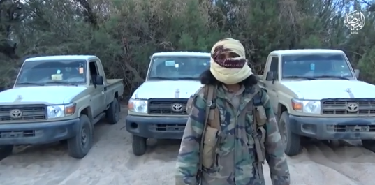 Operative of the Al-Bayda region standing in front of the vehicle commandeered by the organization's operatives. The logo of the region appears on the top right (Akhbar al-Muslimeen, January 1, 2019)
