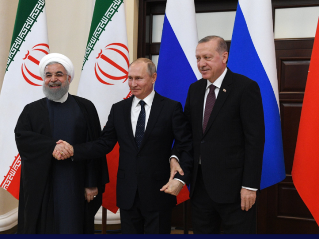 The presidents of Turkey, Russia and Iran at the Sochi Conference (Russian President's Twitter account, February 14, 2019)