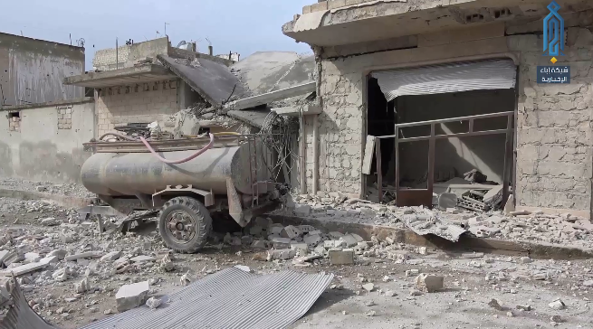 Buildings in the city which were hit by the artillery fire (Ibaa videos, February 16, 2019)