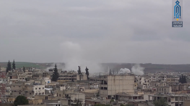 Artillery fire of the Syrian army and the forces supporting it at the city of Khan Shaykhun, south of Idlib.