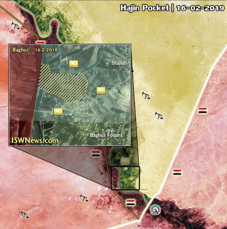 "The area of the village of Al-Baghouz Fawqani (updated to February 16, 2019): The dotted area is the ""pocket"" remaining in the hands of ISIS; The SDF forces are marked in yellow; The Syrian army forces are marked in red (ISWN, February 16, 2019)"