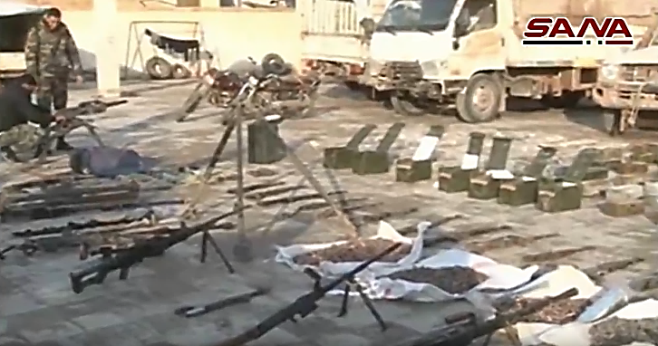 ISIS weapons, ammunition and military equipment seized by the Syrian army (SANA, February 14, 2019)