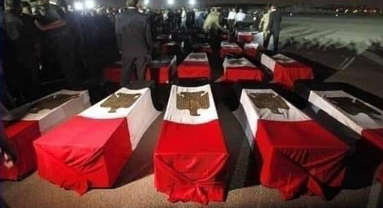 Coffins of soldiers killed in the ISIS attack, draped with Egyptian flags (Kekoo@kariiimahmeeed Twitter account, February 17, 2019).