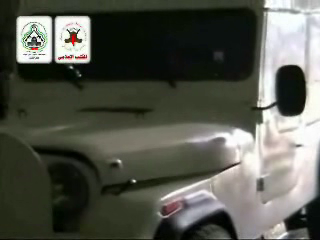 Right to left, the stages of preparing the jeep shown in a Jerusalem Brigades video shown on the Arab and Palestinian media. The video does not show the TV and Press signs, which were painted on the jeep after it had been prepared for the attack (Jerusalem Brigades website, June 10, 2007).