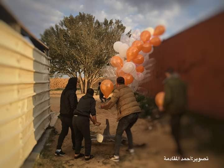 "Preparing and launching a cluster of balloons with an incendiary device attached. It was flown into Israeli territory east of al-Bureij (""sons of al-Zouari in Rafah"" Facebook page, February 20, 2019)."