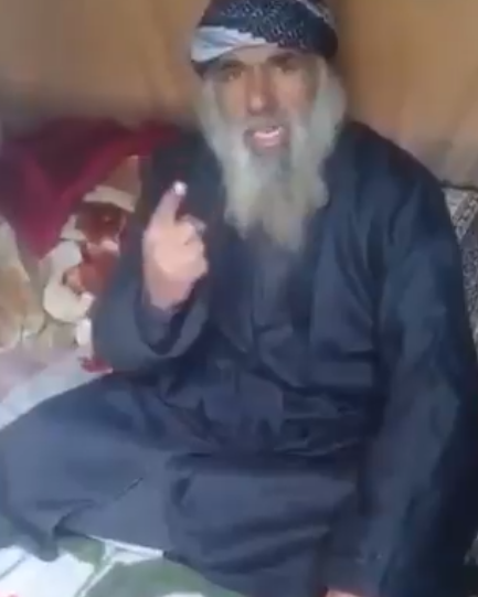 ISIS cleric and poet as he appeared in the video (Rosanna@RosannaMrtnz Twitter account, February 26, 2019)