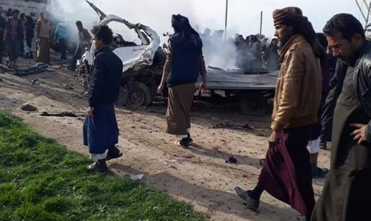 Scene of the attack north of Al-Mayadeen (Enab Baladi, February 21, 2019)