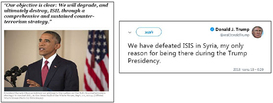 Right: Trump's tweet, December 19, 2018. Left: Excerpt from a speech made by President Obama (White House website, September 10, 2014).