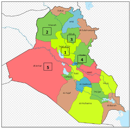 A map of the provinces of Iraq (Wikipedia). The numbers in the north and west indicate areas of intensive ISIS military activity.