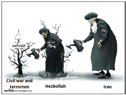 Iran and Hezbollah are cultivating terrorism and the civil war in the Arab world: cartoon in the wake of the Arab League's decision at its emergency meeting in Cairo (Al-Bayan, UAE, November 22, 2017).