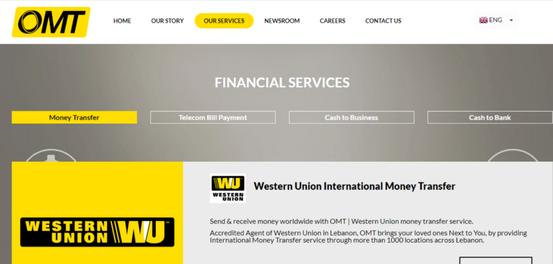 Online Money Transfer (OMT), a Lebanese company for transferring funds