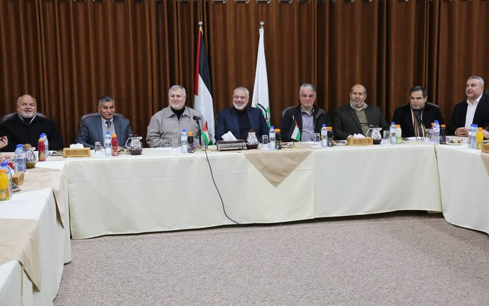 Isma'il Haniyeh meets with members of the Supreme National Authority (Hamas website, March 3, 2019).