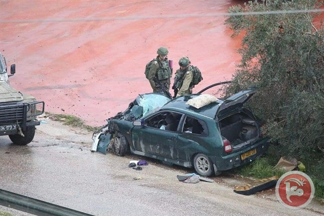 The Palestinian car that rammed into the IDF soldiers near Kafr Ni'ma (Ma'an, March 4, 2019).