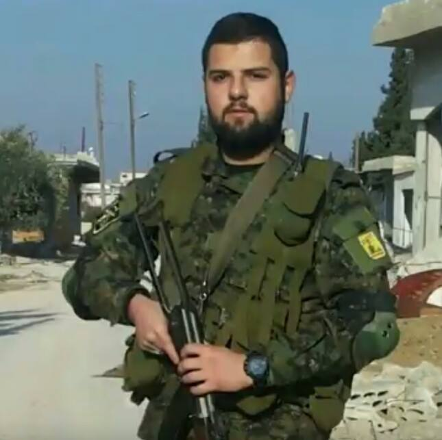 Hezbollah as a proxy of Iran: The photo shows Hatem Kamel Khalil (Abu Turab) from southern Lebanon, who was killed in the Aleppo area. He is wearing two shoulder badges on his uniform: on the right, a Hezbollah badge (clearly seen on the left photo). The other, on the right, is a shoulder badge of the Iranian Revolutionary Guards (clearly seen on the right photo) (Facebook)