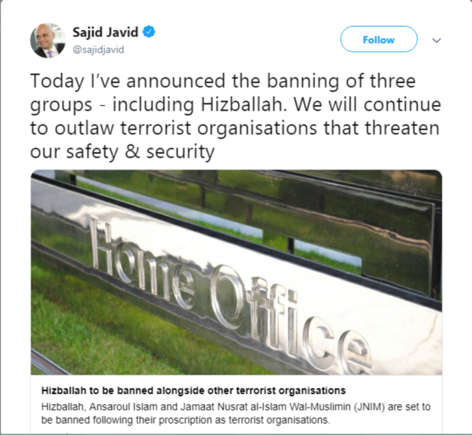 Tweet posted by British Home Secretary Sajid Javid (Home Secretary Sajid Javid's Twitter account, February 25, 2019)