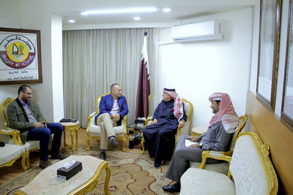 Mohammed al-Emadi meets with Nikolay Mladenov (Qatari committee for the reconstruction of the Gaza Strip Facebook page, March 10, 2019).