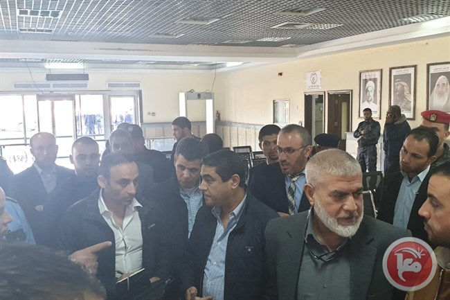 members of the Egyptian delegation visit the Rafah Crossing (Ma'an, March 7, 2019).