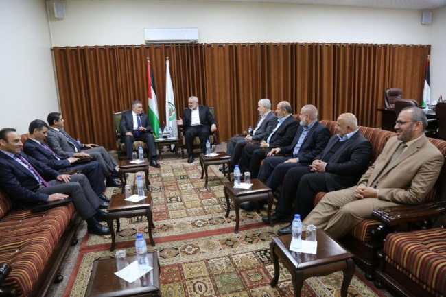 Members of the Egyptian security delegation meet with the Hamas leadership in the Gaza Strip (Shehab Twitter account, March 6, 2019).