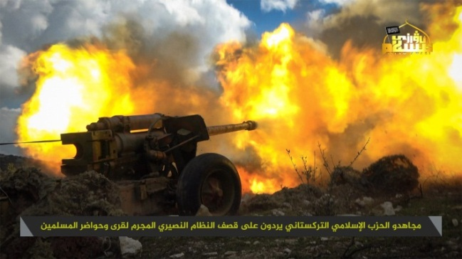 Artillery fired by operatives of the Islamic Turkestan Party (the Uyghurs) at Syrian army positions (Telegram, March 6, 2019).