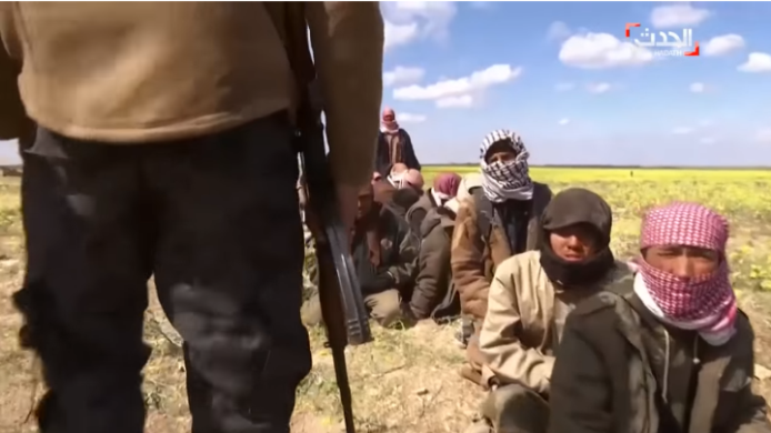 "ISIS operatives who fled from the ISIS ""pocket"" in Al-Baghouz Fawqani (from a video on the Al-Hadath Channel, March 7, 2019)"