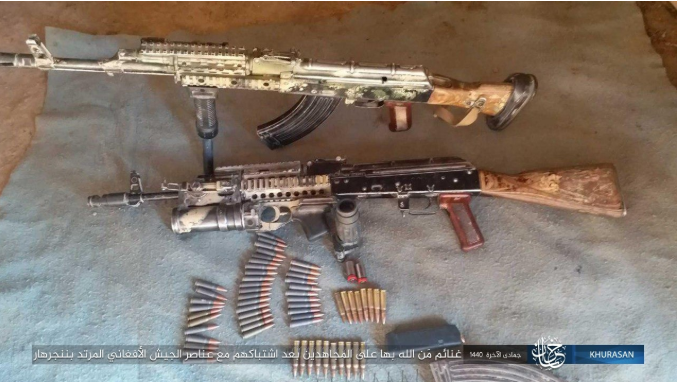 Weapons seized by ISIS operatives from Afghan army soldiers after exchanges of fire with them (Shabakat Shumukh, March 7, 2019)