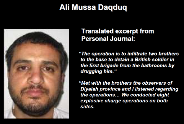 Translated excerpts from Ali Daqduq's personal journal and the training manual found in his possession (from a briefing given by Brigadier General Kevin Bergner, spokesman for the American Army in Iraq, July 2, 2007, from the MNF-Iraq.com website)