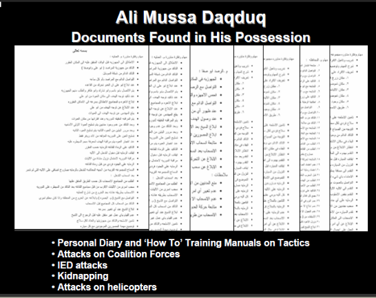 Documents found in Ali Daqduq's possession indicating his intention to attack the coalition forces in Iraq, by methods including abductions and attacks on helicopters (photo: www.usf_iraq.com)