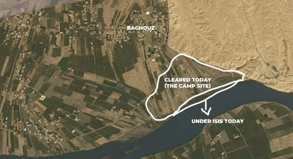 """Al-Baghouz Camp"" with the concentration of ISIS operatives taken over by the SDF forces, and the narrow strip along the Euphrates River to which ISIS operatives were repelled (Mostafa Bali's Twitter account, March 19, 2019)"