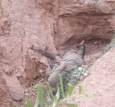 The body of one of the ISIS operatives who were killed in the Diyala Province in a counterterrorist operation of the Iraqi security forces (Iraqi News Agency, March 17, 2019)