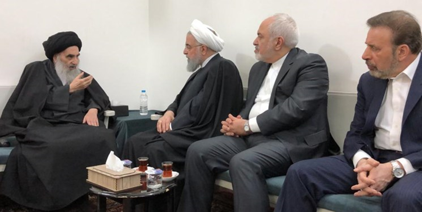 The meeting between President Rouhani and the prominent Shi'ite cleric Sistani (Fars, March 13 2019).