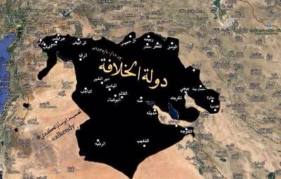 The height of the Islamic Caliphate's expansion, June 2014: the Islamic Caliphate controlled extensive areas in western Iraq and northeastern Syria. The map was uploaded to jihadist forums on August 18, 2014 (hanein.info; alplatfrommedia.com)