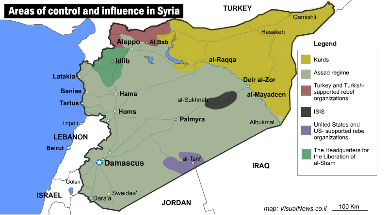 Areas of control and influence in Syria