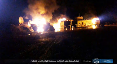 Truck and tractor set on fire by ISIS operatives (Iraq Province – Diyala region, December 9, 2018).