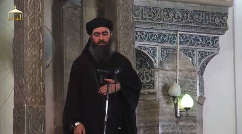 Abu Bakr al-Baghdadi gives a sermon at the Great Mosque in Mosul (YouTube, July 5, 2014).