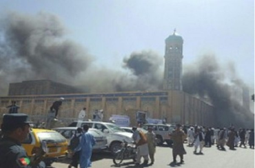 The scene of the June 4, 2018, ISIS suicide bombing attack at a conference where more than 2,000 religious figures participated. About 70 people were killed and wounded, including religious figures and operatives of the Afghan security forces (barsh.ir, June 4, 2018)
