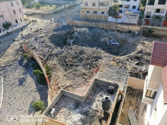 Aerial phot of Isma'il Haniyeh's office building after the attack (QudsN Facebook page, March 26, 2019).