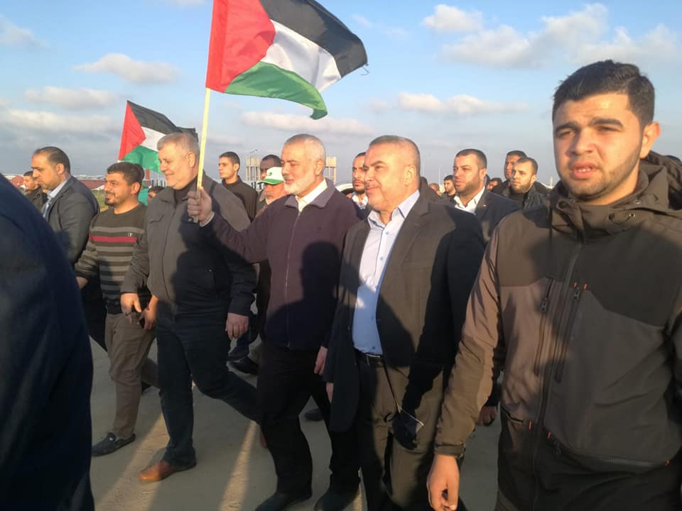 "Isma'il Haniyeh at the 51st ""return march"" east of Gaza City (Supreme National Authority Facebook page, March 22, 2019)."