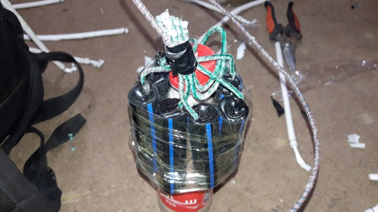 "Explosives prepared by the operatives of the ""sons of al-Zouari in Rafah"" unit."