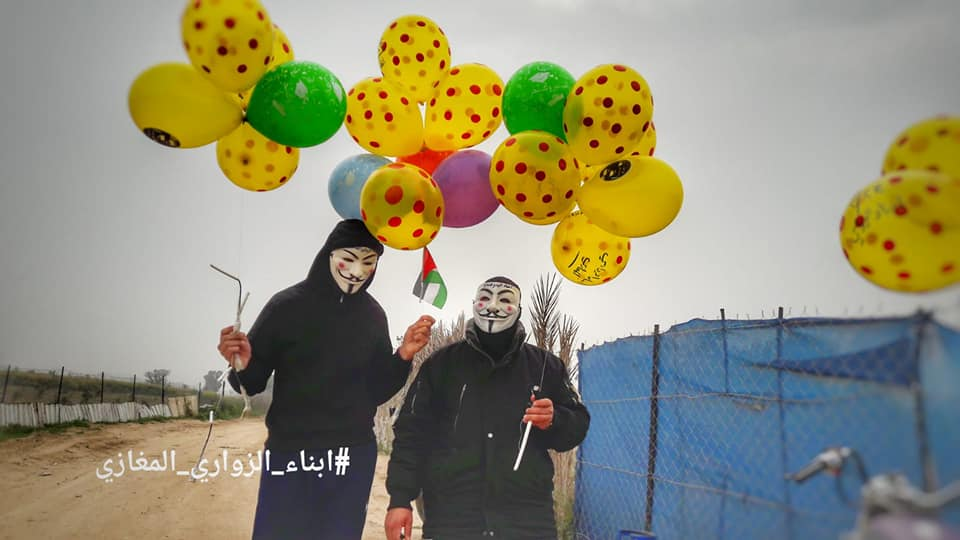 "Launching IED balloons into Israeli territory from the region east of the al-Maghazi refugee camp in the central Gaza Strip (""sons of al-Zouari in the Gaza Strip"" Facebook page, March 24, 2019)."