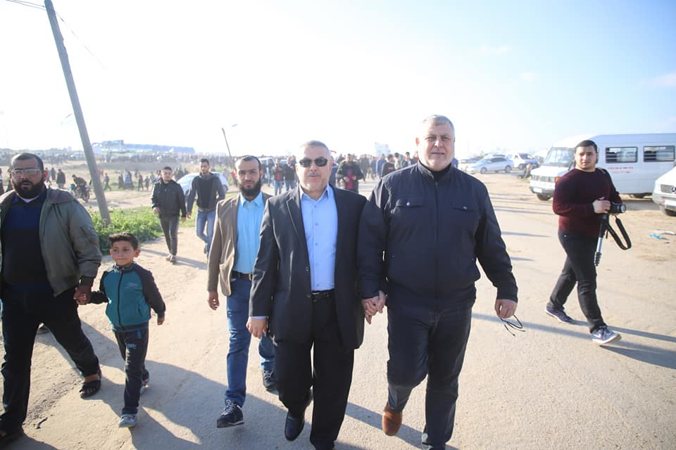 "Two prominent figures in the Supreme National Authority: senior PIJ figure Khaled al-Batash, and senior Hamas figure Isma'il Radwan during ""return march"" activities on Friday, March 22, 2019 (Supreme National Authority Facebook page, March 22, 2019)."