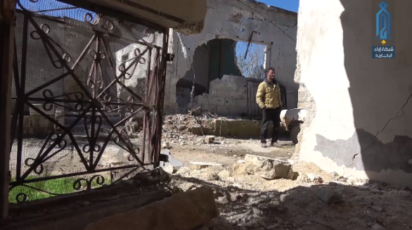 Building damaged by the Syrian army artillery fire in the village of Al-Hawiz (Ibaa, March 23, 2019)