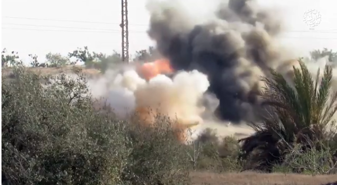 IED being detonated against an Egyptian army vehicle (Shabakat Shumukh, March 25, 2019)