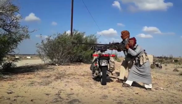 Activity of the Sinai Province against the Egyptian army: firing a machine gun mounted on a motorcycle.