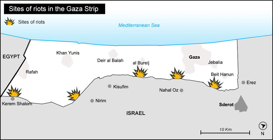 Sites of riots in the Gaza Strip