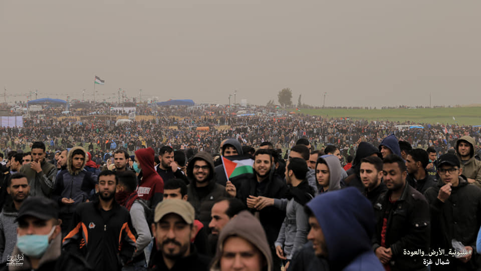 Palestinian demonstrators in the northern Gaza Strip (Shehab Facebook page, March 30, 2019).